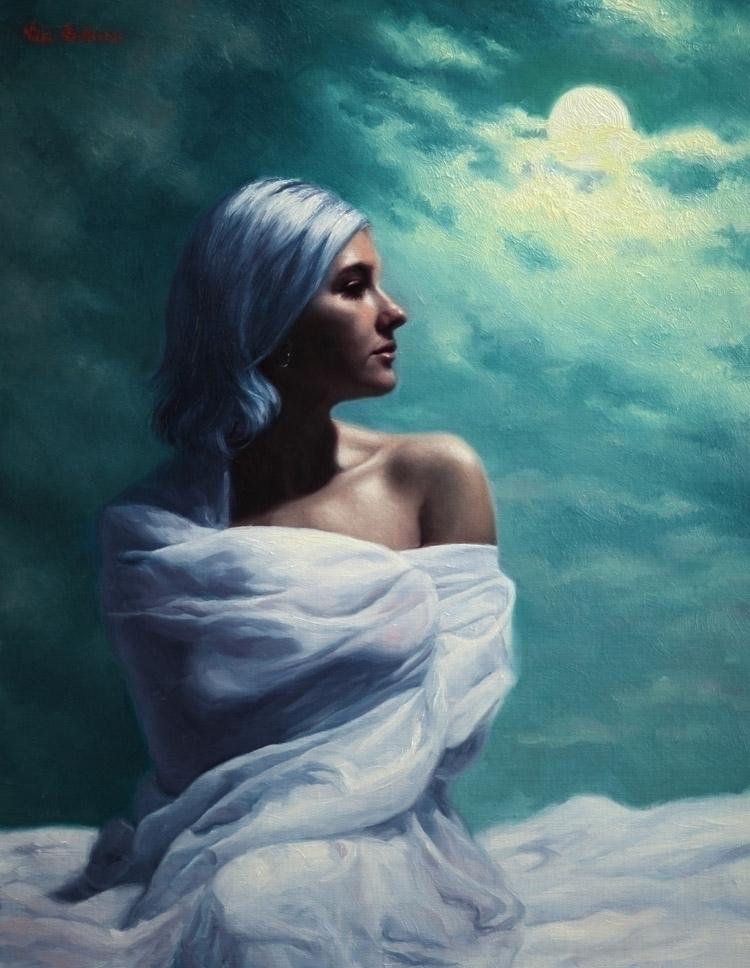 Moon Goddess, 2019 Oil linen 17 - vickisullivanart | ello