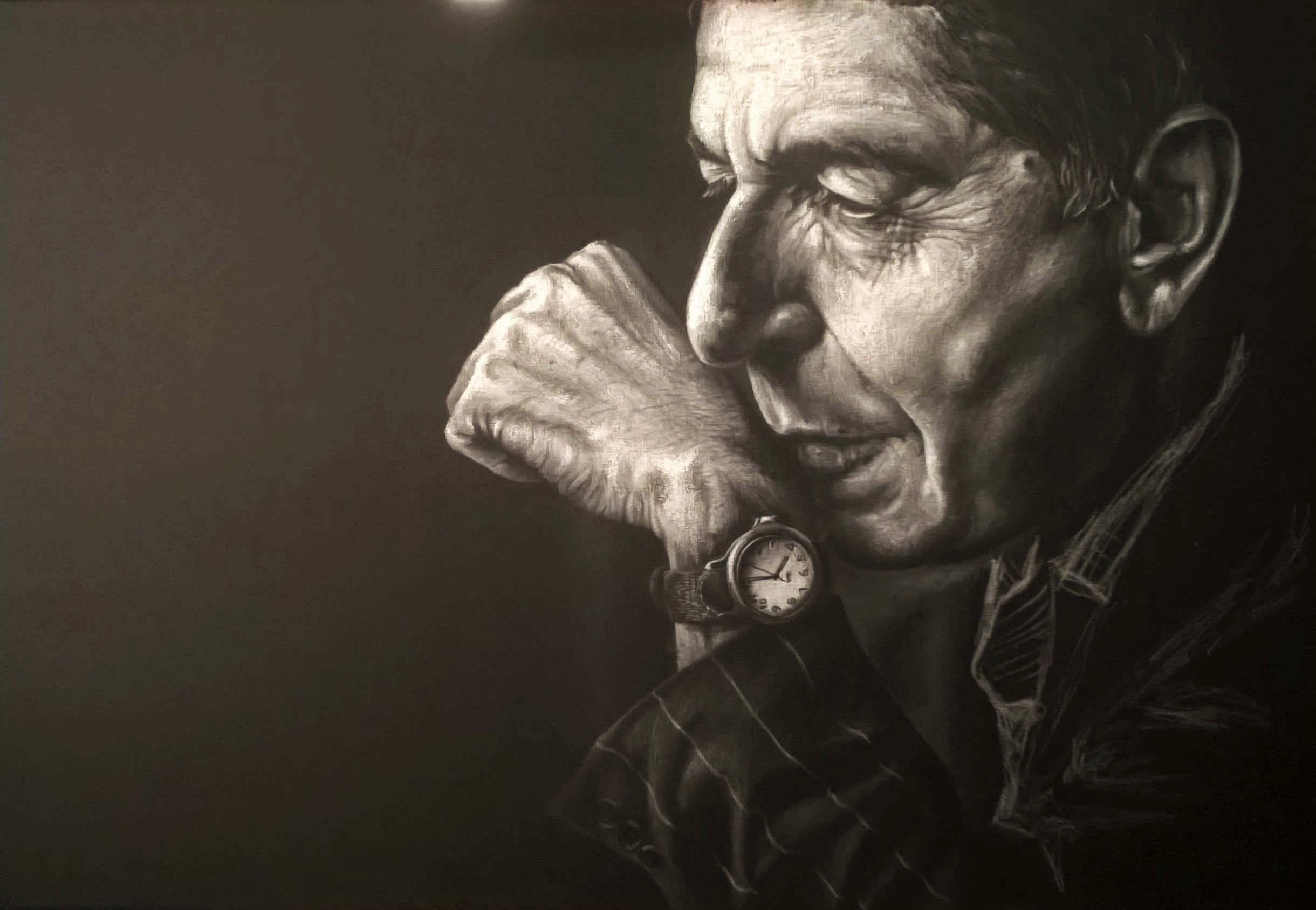 Leonard Cohen (chalk black canv - gabriella_draws | ello