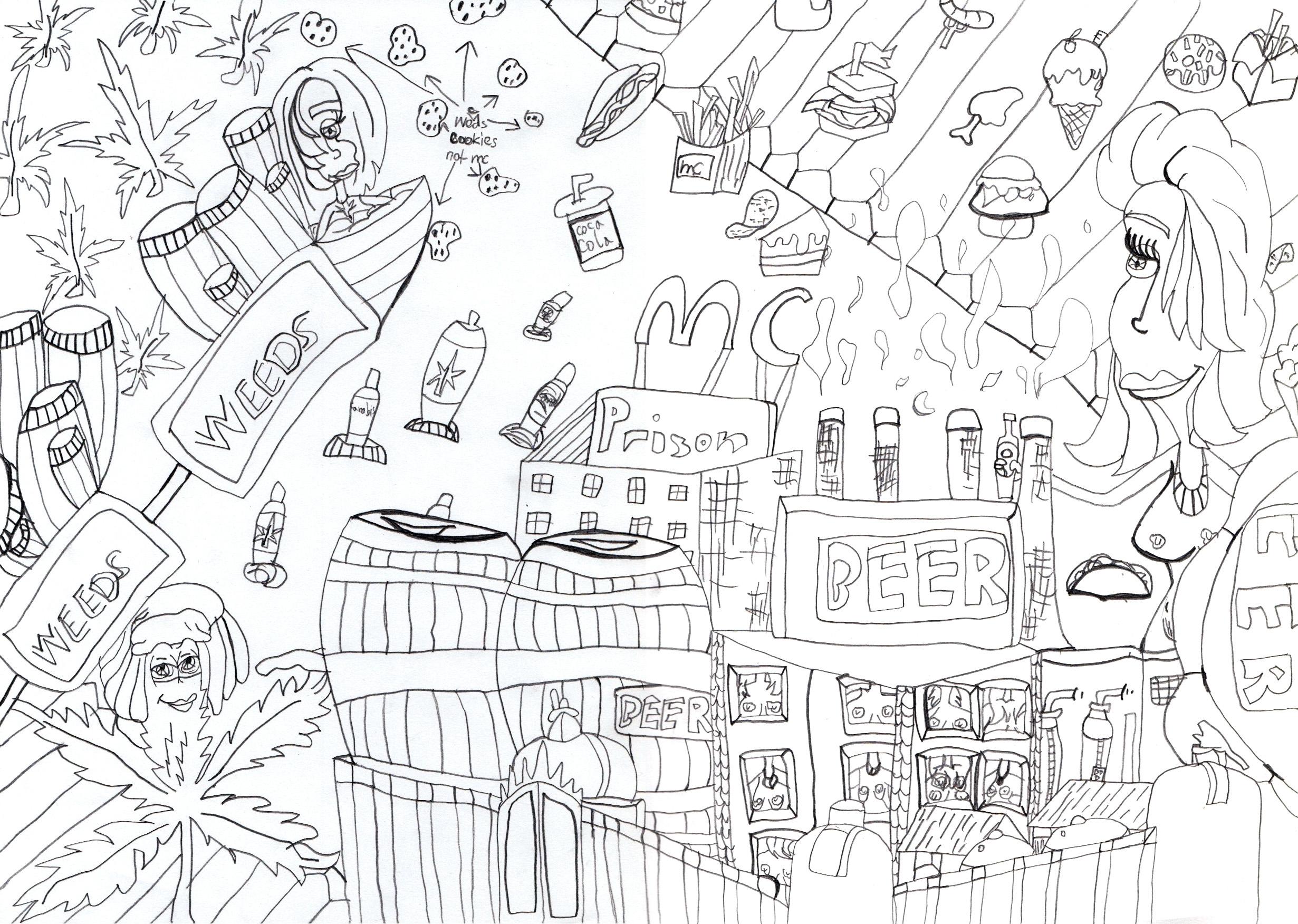 drawing, pencil, bw, prison, beer - timotejgore   ello