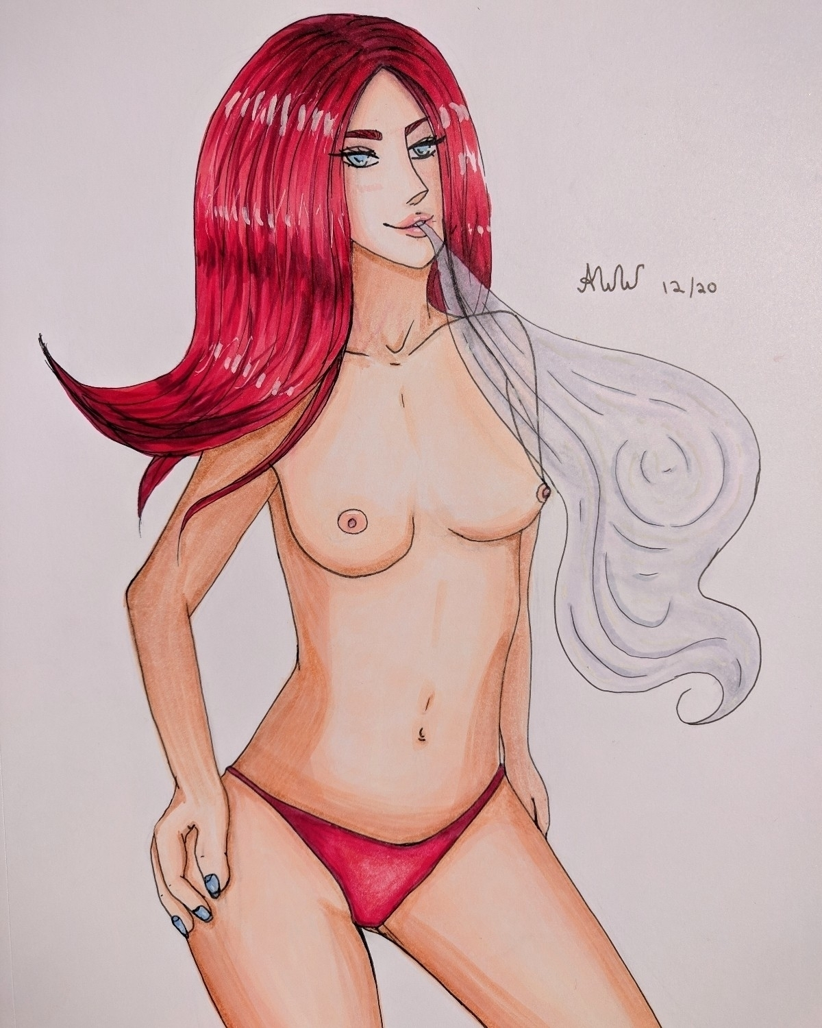 smokin red hot :fire:🥵 - smoke, copicmarkers - animeweedwitch | ello