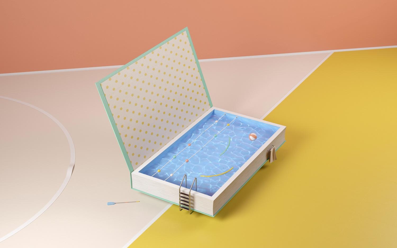 - book, surreal, pool, cgi, 3d - nicocastro | ello