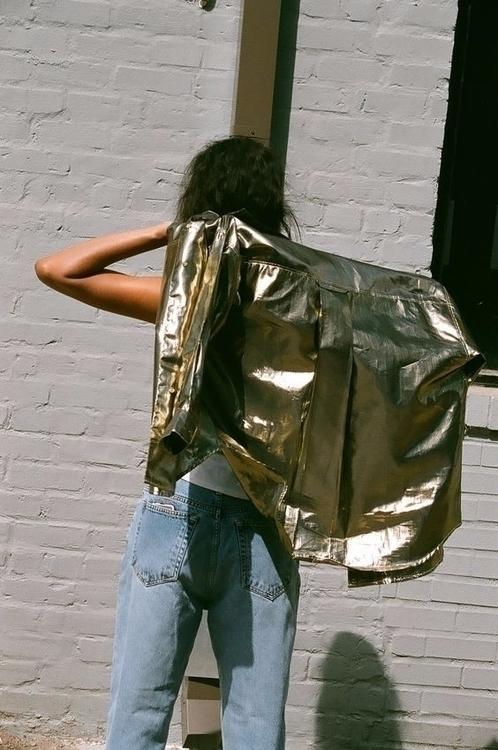 Gold leather boyfriend jeans, s - ohgoodgoods_mag | ello