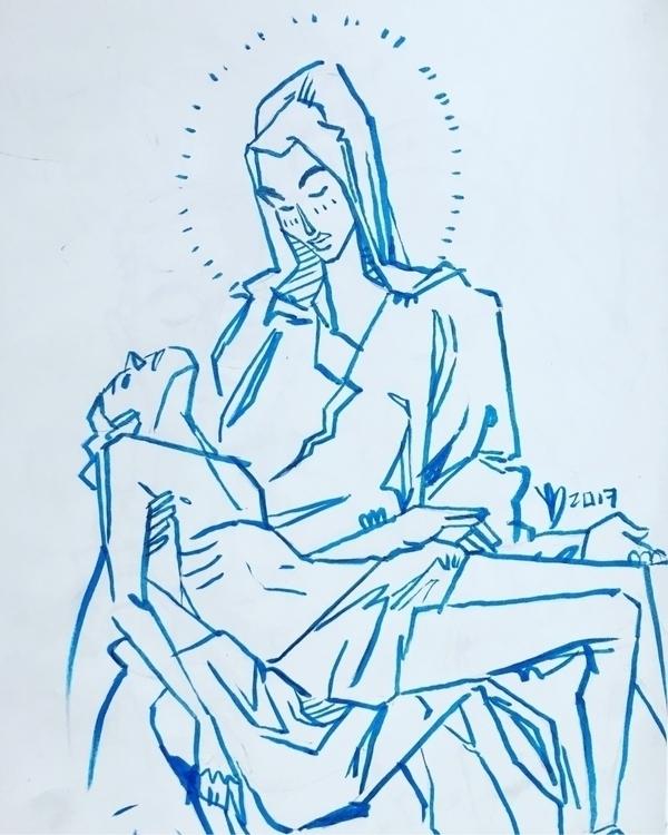 Pieta Study - sketchbook, blue, mothermary - evandileo | ello