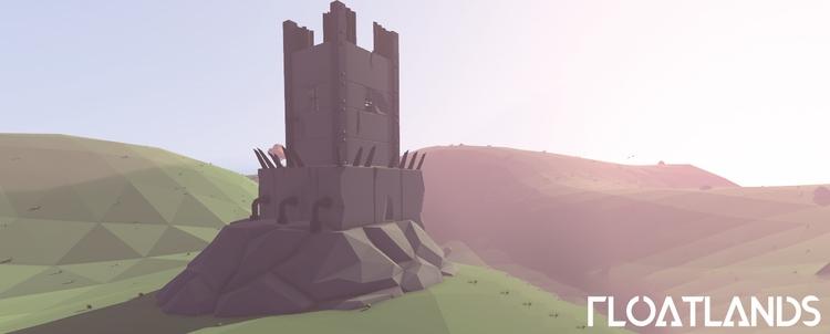 Majestic concrete tower - 3D, gaming - floatlands   ello