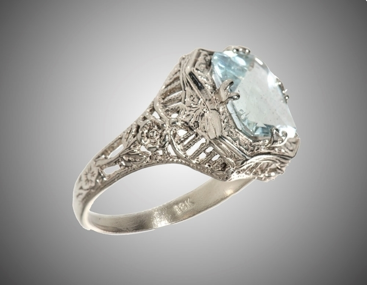 18k Art Deco filigree ring 2.5  - godsotherson   ello