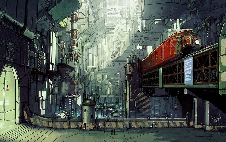 scifi, cyberpunk, city, train - ukimalefu | ello
