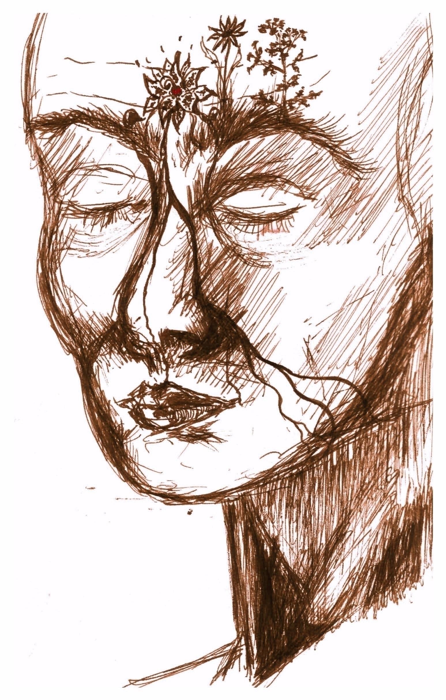 Meditation, sketchbook drawing - wiebkerost   ello