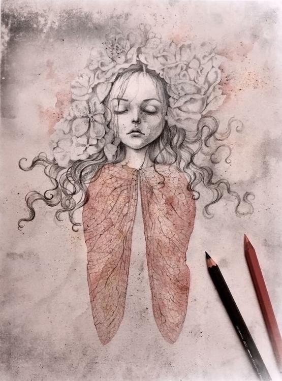 Ophelia Watercolor colored penc - laurapedrettiart | ello
