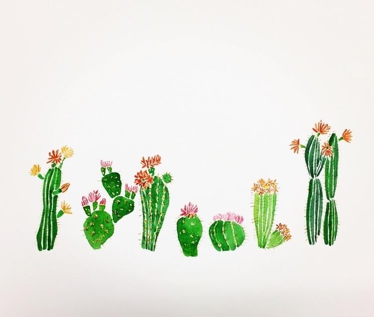Cactus flowers - painting, cactus - igimidraws | ello