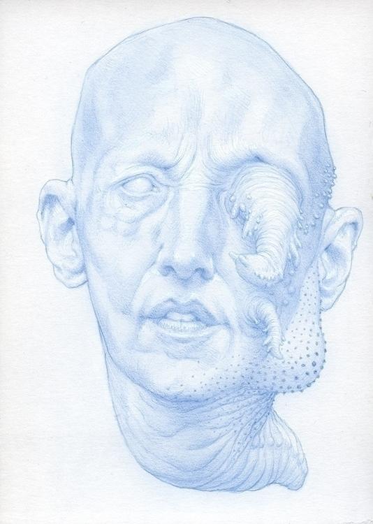 Lumpy face growth. 5 7 blue pen - nathanreidt | ello