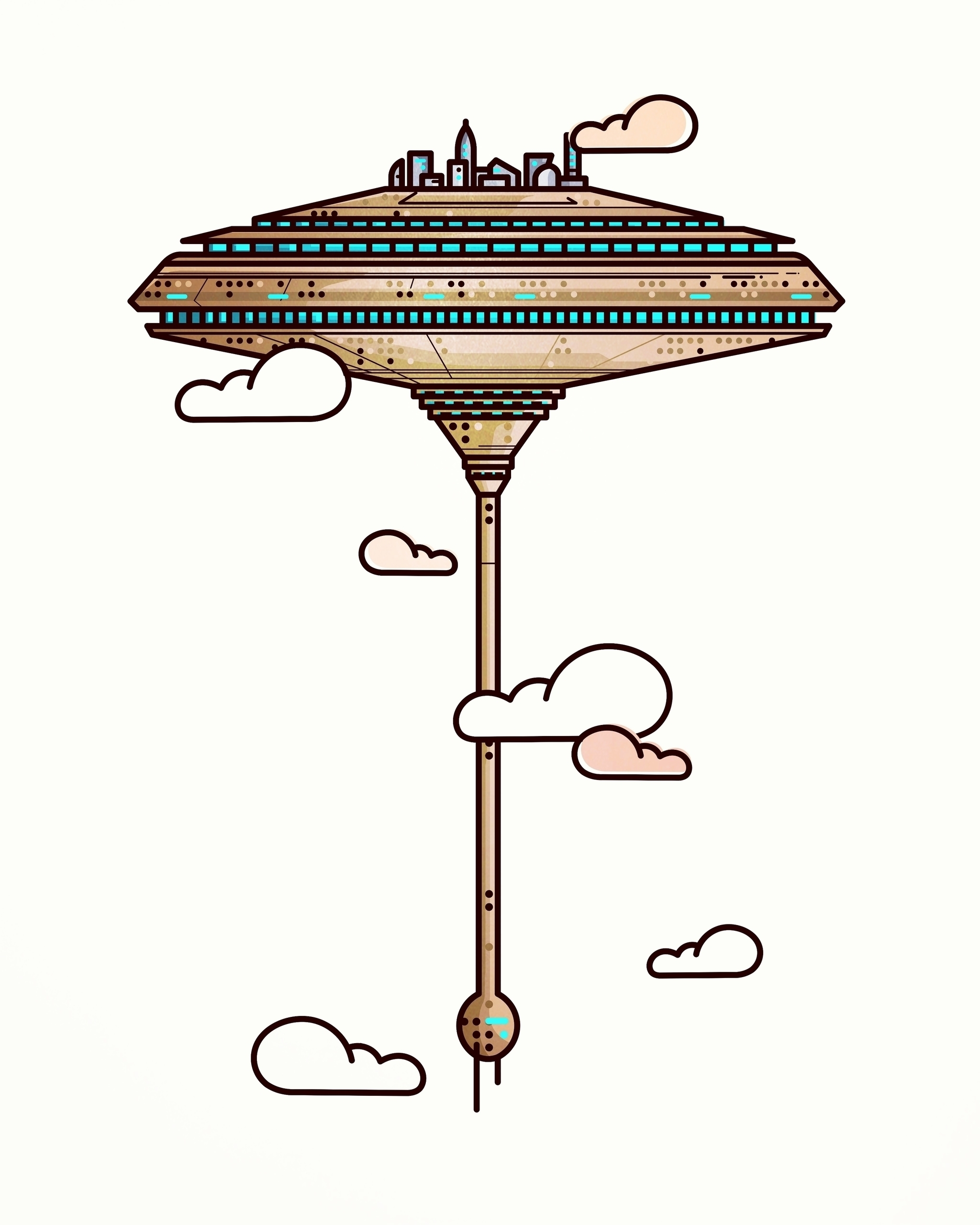 cloud city - illustration, animation - almigor | ello