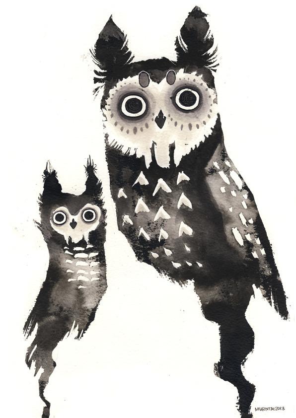 Ink Owls - illustration, ink, owl - myrntai | ello