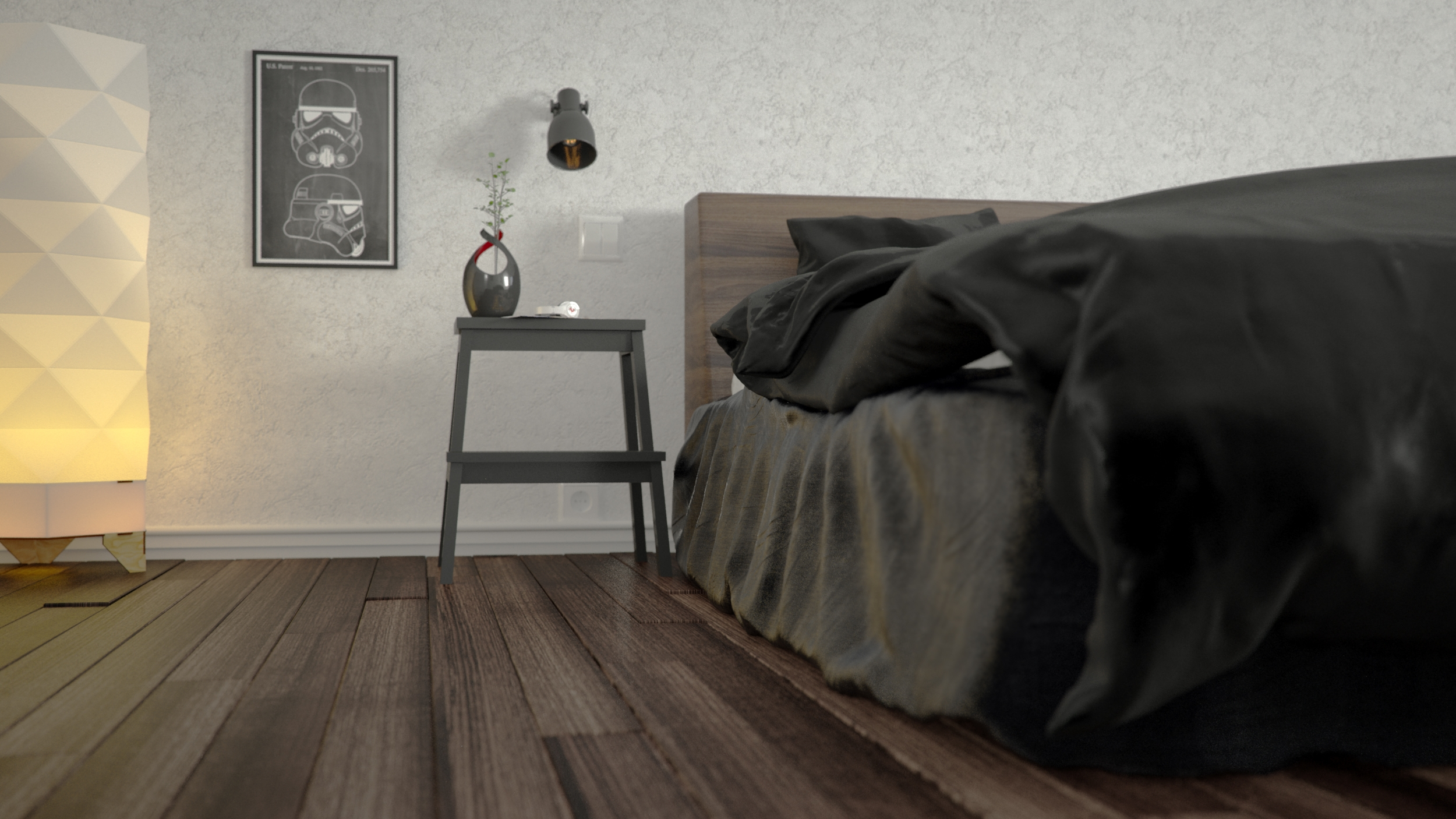 Bedroom 1 - 3d, 3dsmax, vray, bed - gmad | ello