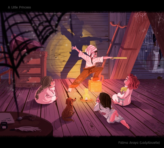 princess scene 2 - illustration - ladyalouette   ello