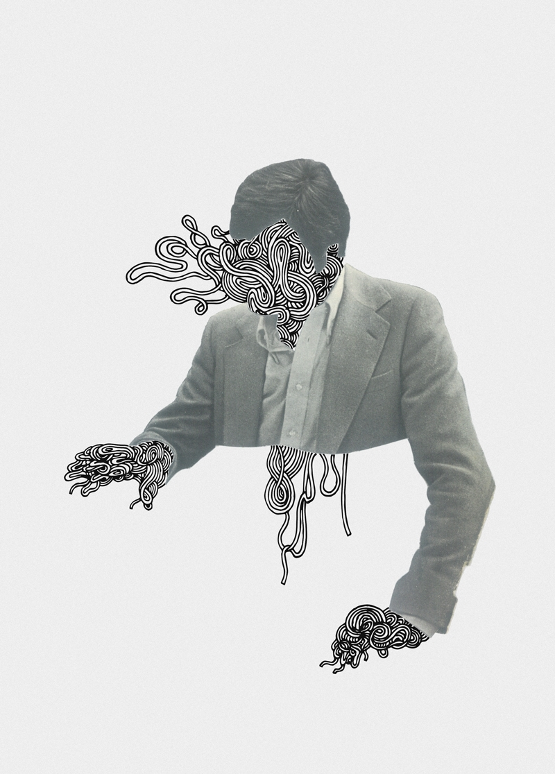 UNRAVELLING MAN - drawing, collage - kimbogruff   ello