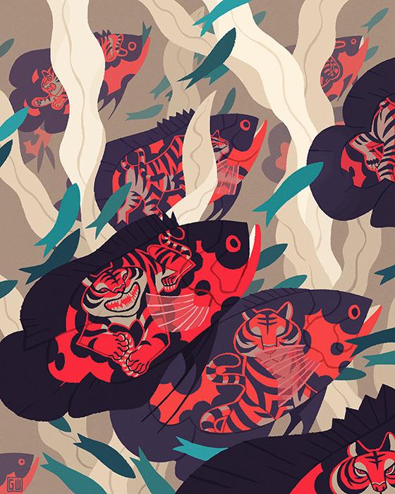 Hot Pursuit - fish, GregWright, illustration - gregwright | ello