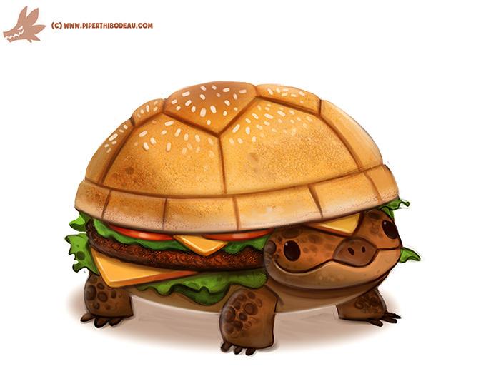 Daily Paint Turtle Burger - 1098. - piperthibodeau | ello