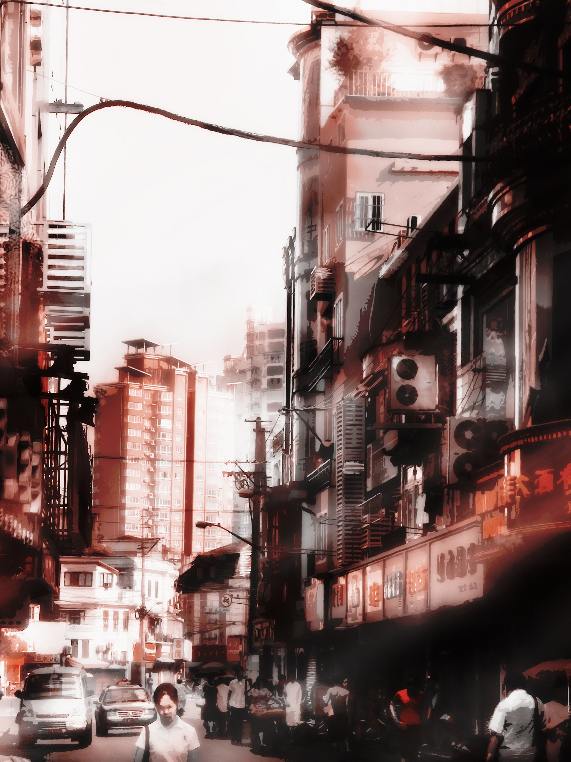 Shanghai Streets 3 - shanghai, illustration#digitalart#design#characterdesign#photoshop#painting#davisvrworks#drawing#conceptart - mash-1263 | ello