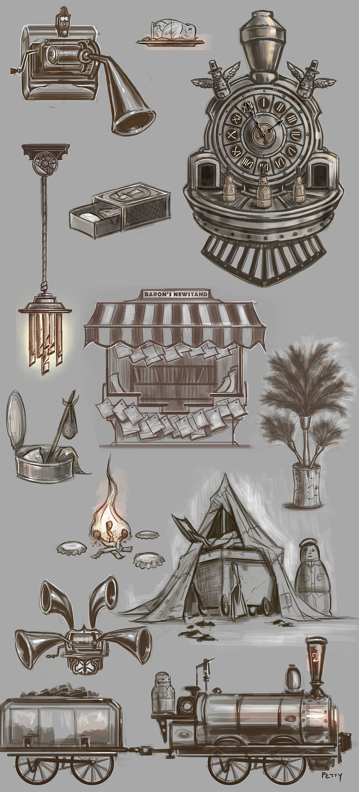 sketches props Royal Train Stat - lpetty | ello