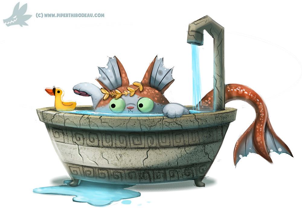 Daily Paint Poseidon Cat - 1034. - piperthibodeau | ello