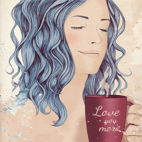 Coffee, love - illustration, digitalart - danibaum | ello