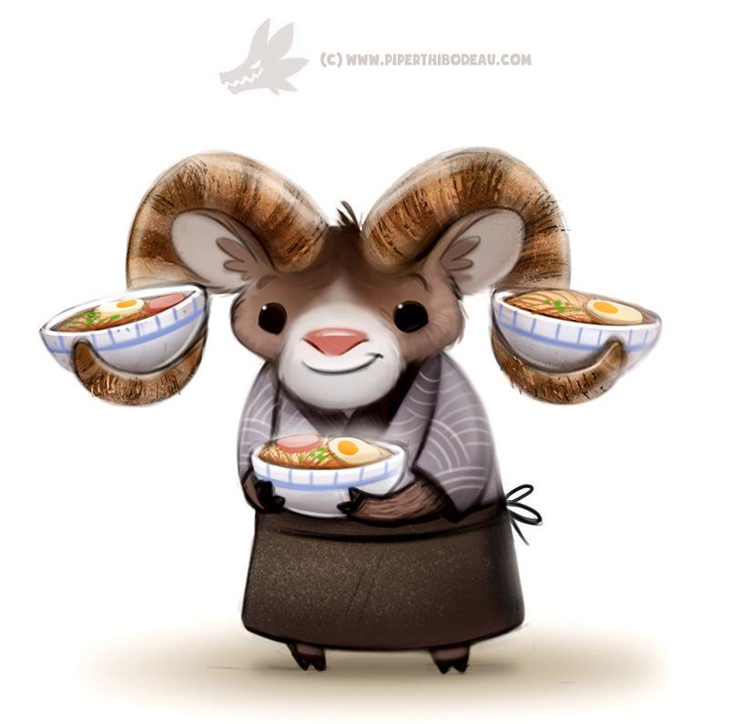 Daily Paint 1289. Ram-en Chef - piperthibodeau | ello