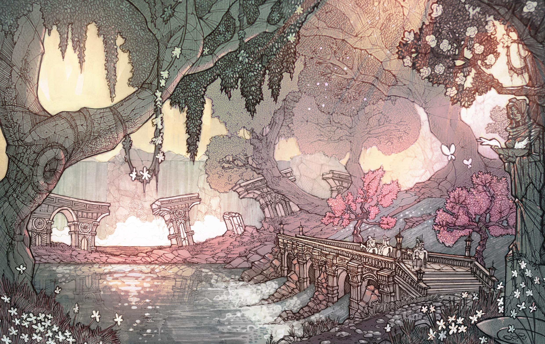 Spring Forest - illustration, drawing - eskar | ello
