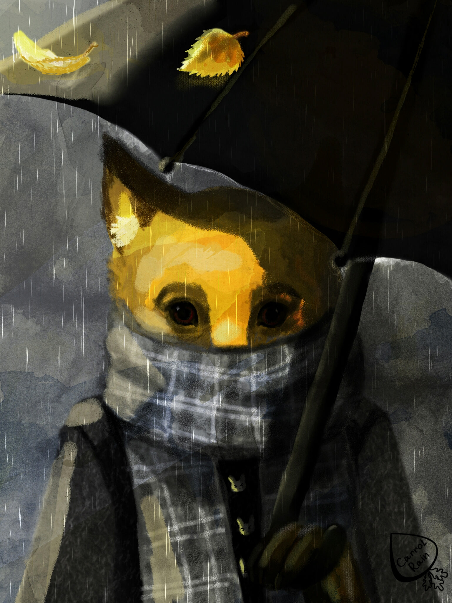 Sad fox - illustration, autumn, rain - carrotrain   ello