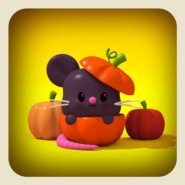 mouse pumpking - 3d, children'sillustration - cecymeade | ello