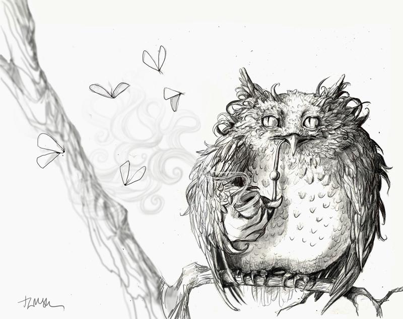 Smoky owl - sketch, art, illustration - talamaskanka | ello