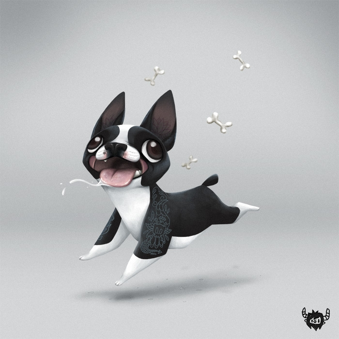 Boston - dog, bostonterrier, character - yoii | ello
