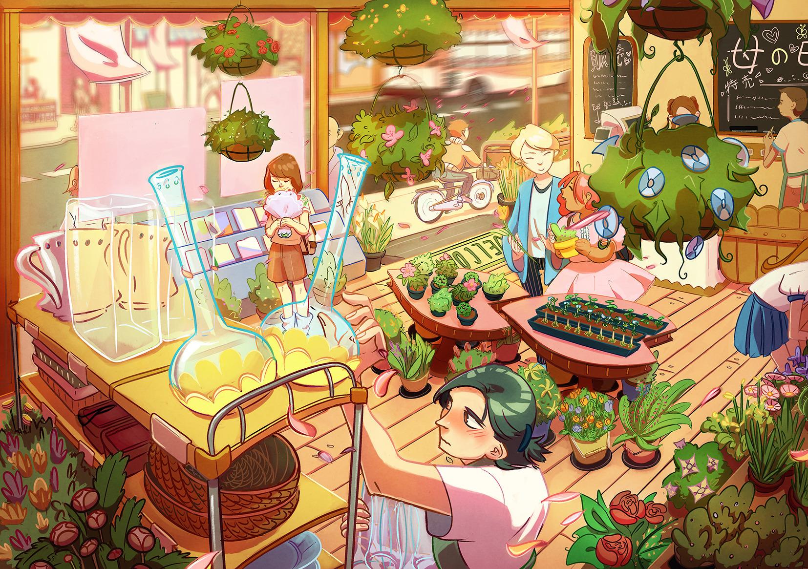 illustration, flowers, digitalart - sixiaoart | ello