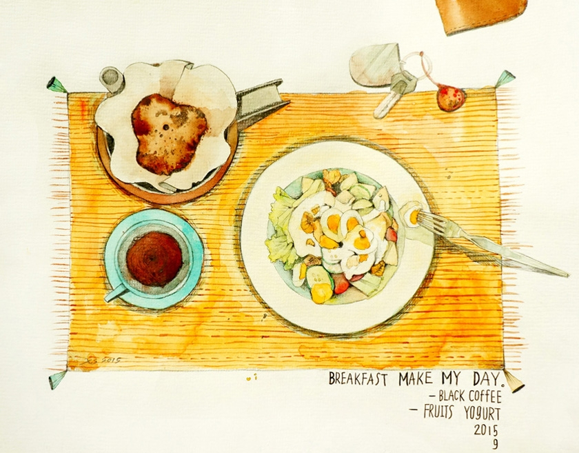 morning ritual - illustration, watercolor - xshang | ello