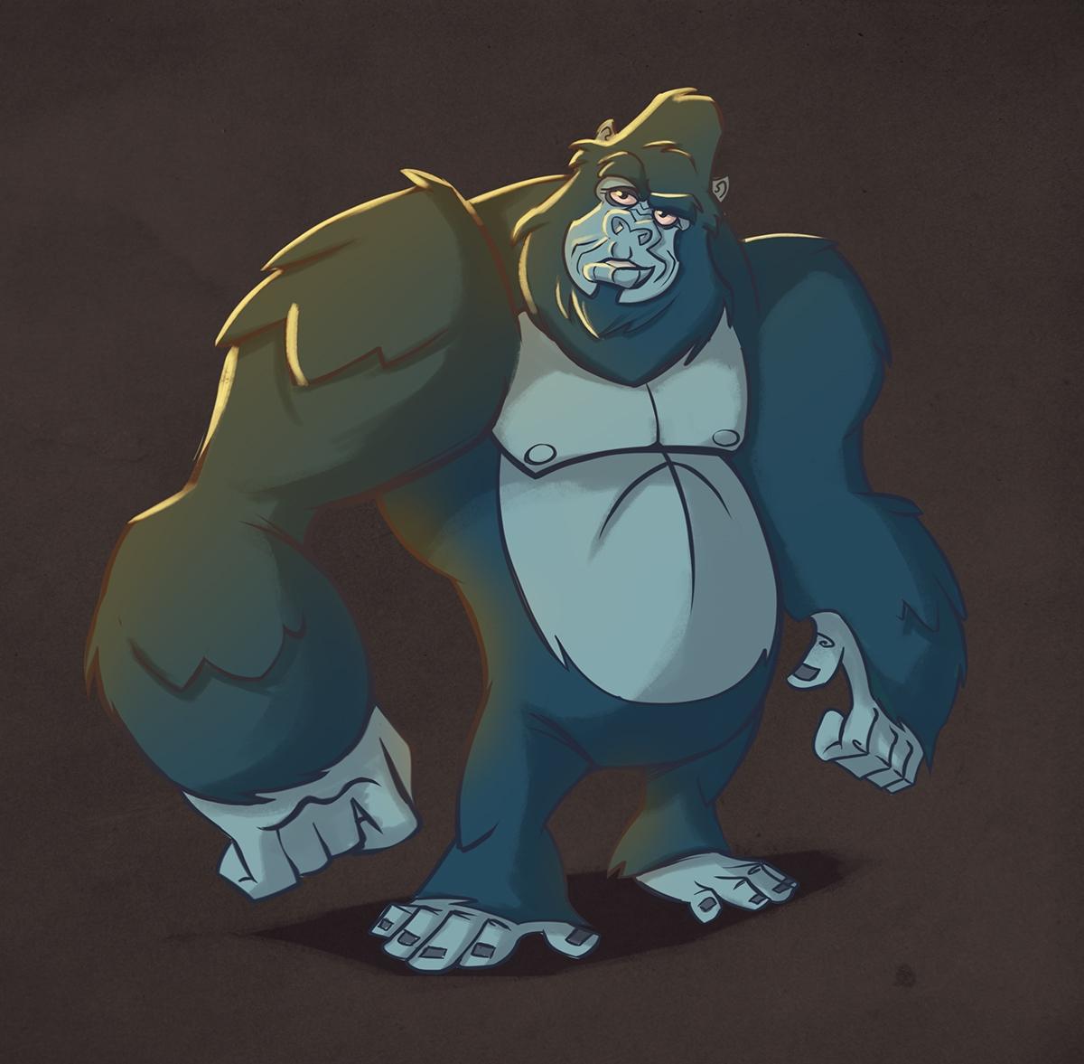 gorrilla - animal, animation, monkey - michelverdu | ello