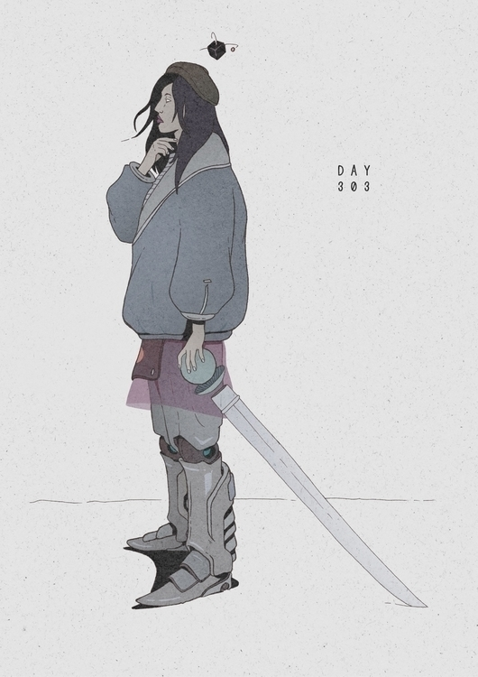 Day 303/365: Robot Knight - illustration - 1sles | ello