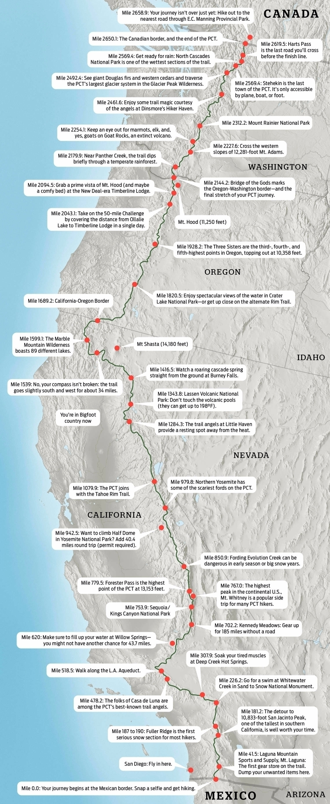 Map: Hike Pacific Crest Trail  - ellooutside | ello