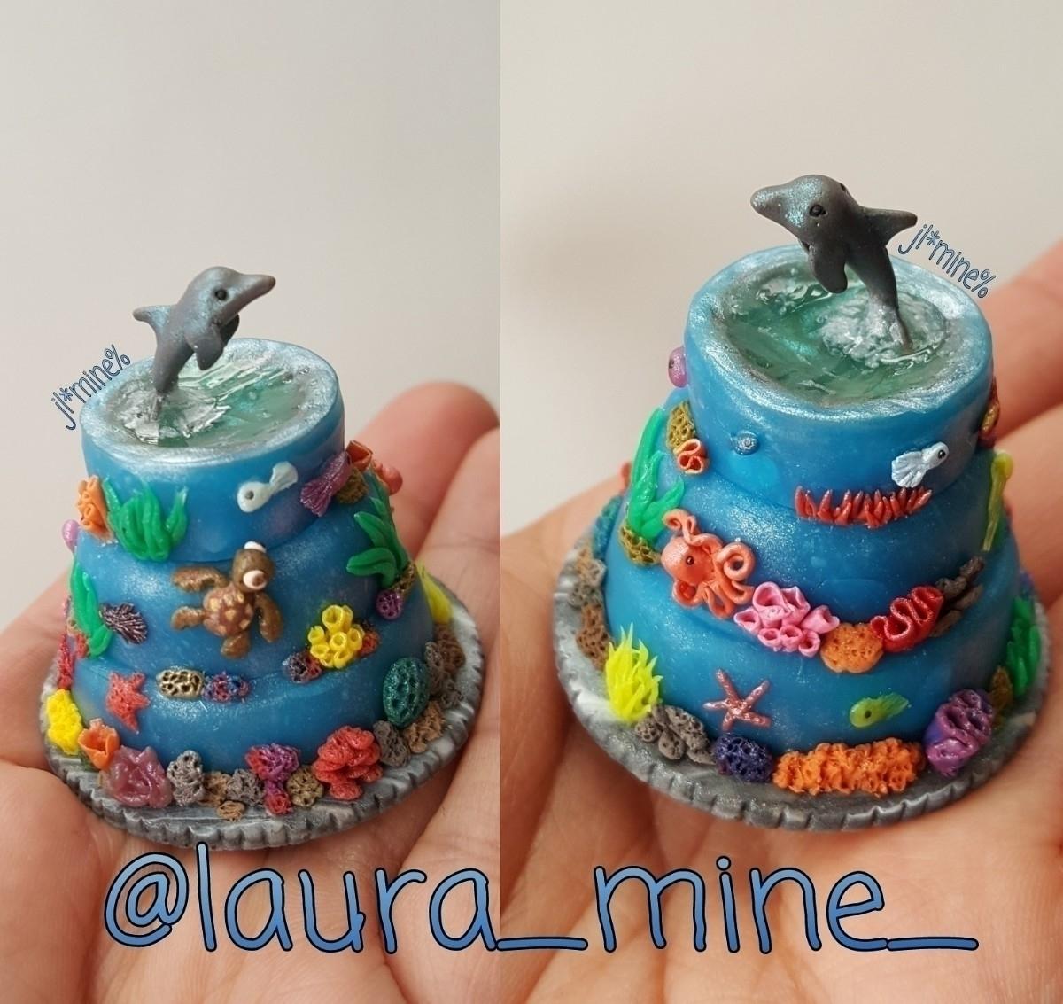 Tiny ocean cake - polymerclay, tiny - laura_mine   ello