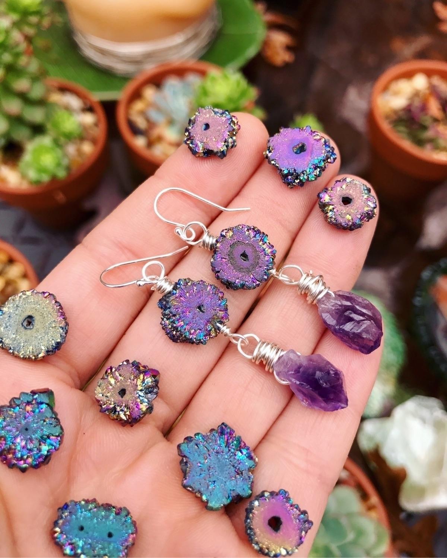 Rainbow Druzy + amethyst Sterli - wingostarrjewelry | ello