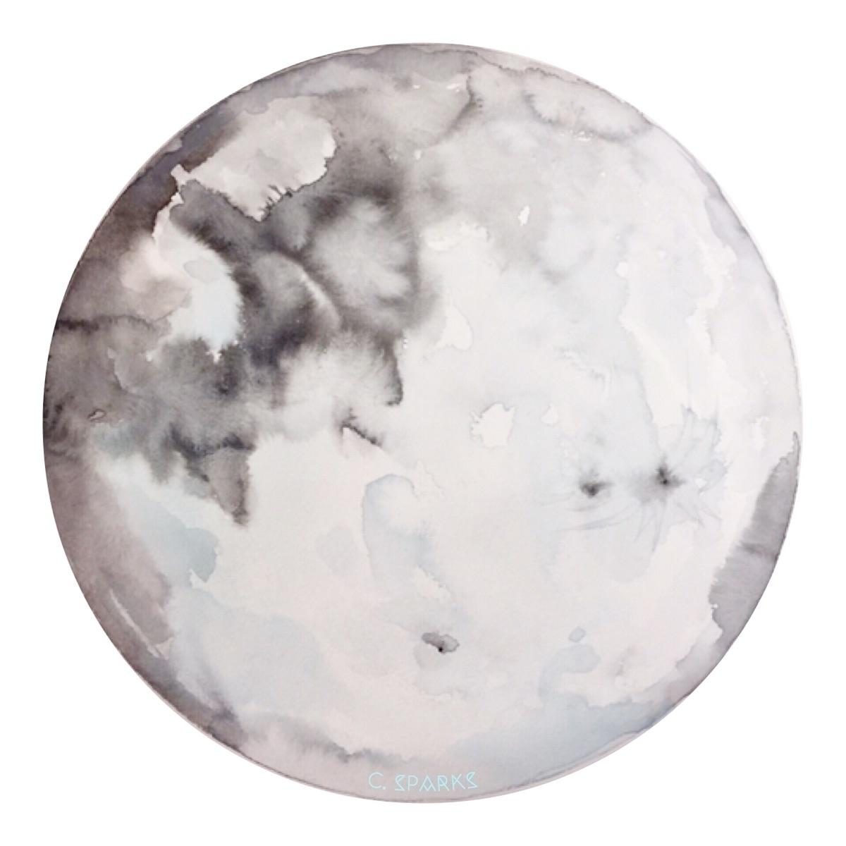 Full Moon Japanese watercolors  - chrissysparksart | ello
