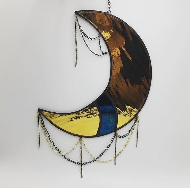 Gold Mirror Crescent Moon, perf - thepomegranatescrown | ello