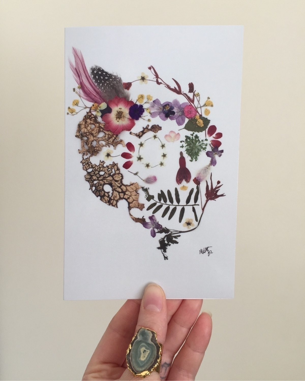 Frida pressed flower skull prin - theforagingfairy | ello