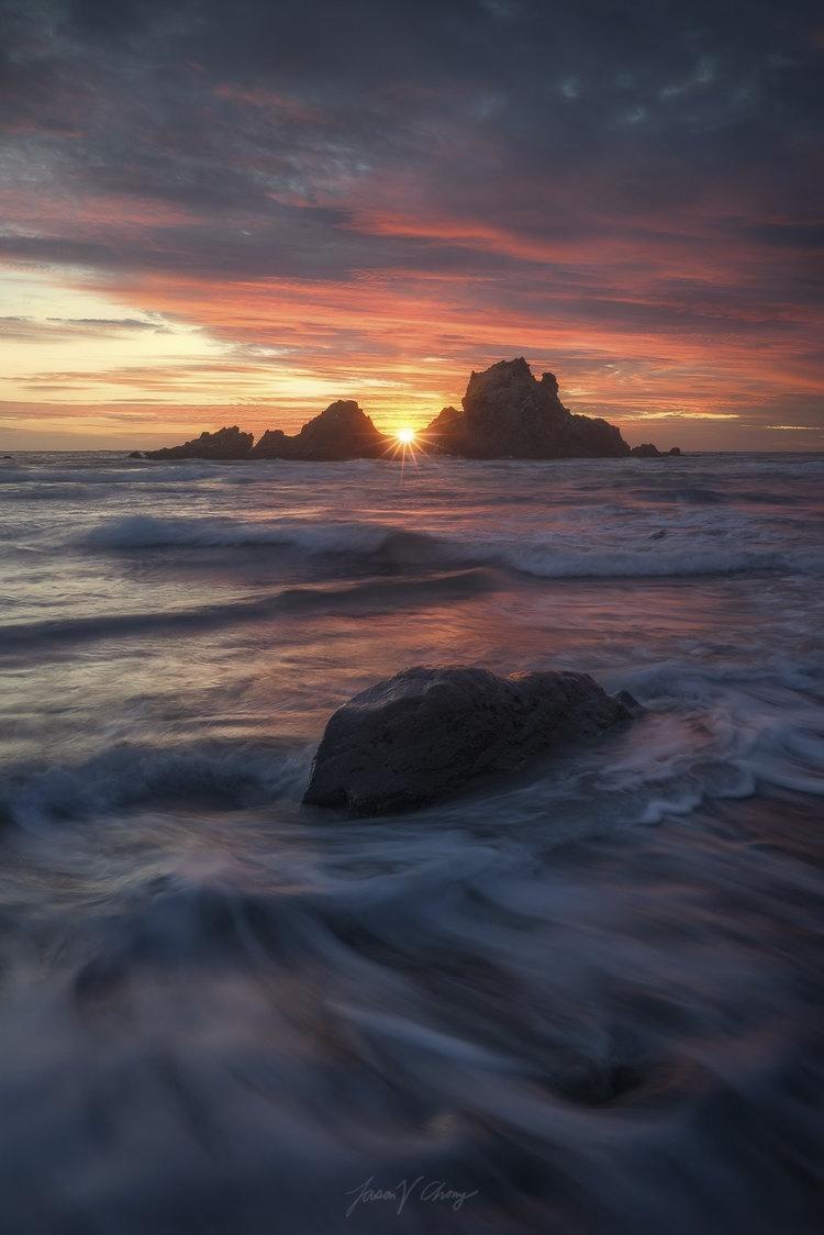Temple Sea Blazing sunset sea s - jchong | ello