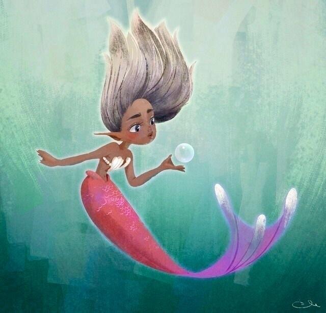 post mermaid loves bubbles - illustration - chocolatte-1194 | ello