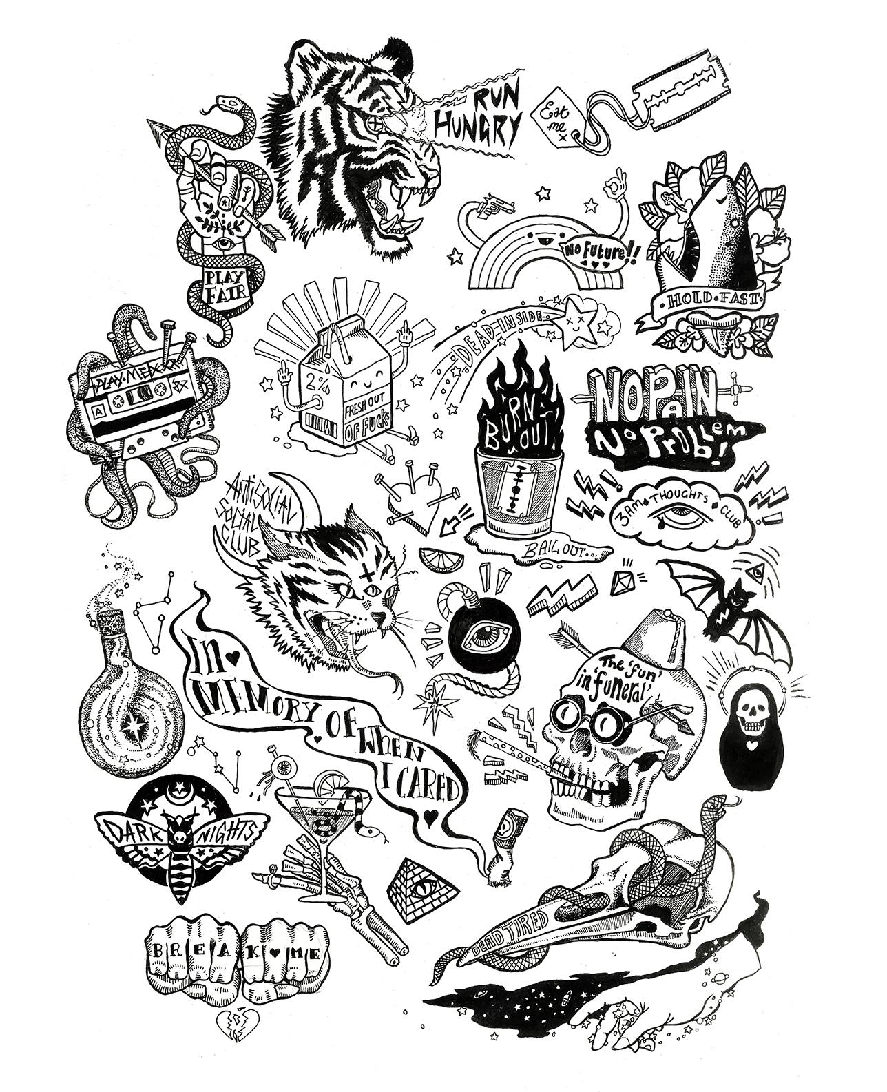 'Cheers Goths!' Flash sheet - illustration - polkip | ello