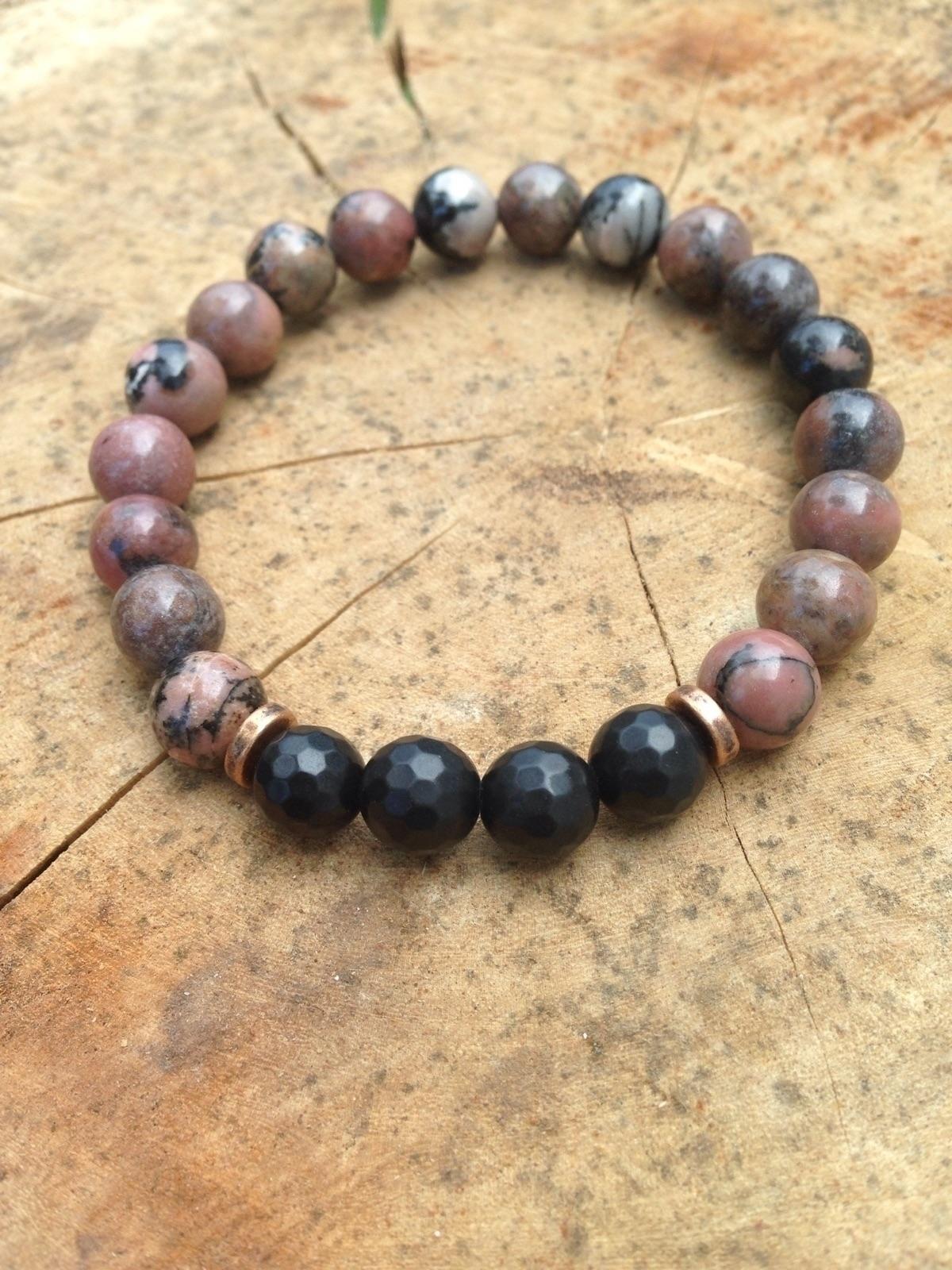 Rhodonite + Obsidian bracelet.  - bohoelementsdesigns   ello