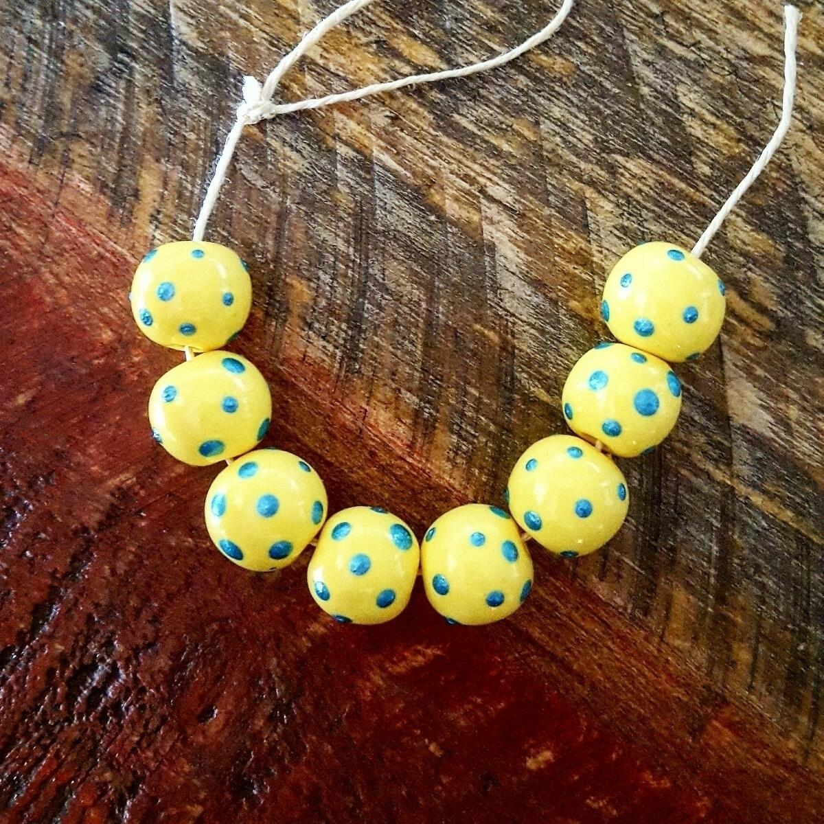 Yellow beads blue metallic polk - jadesculpts | ello
