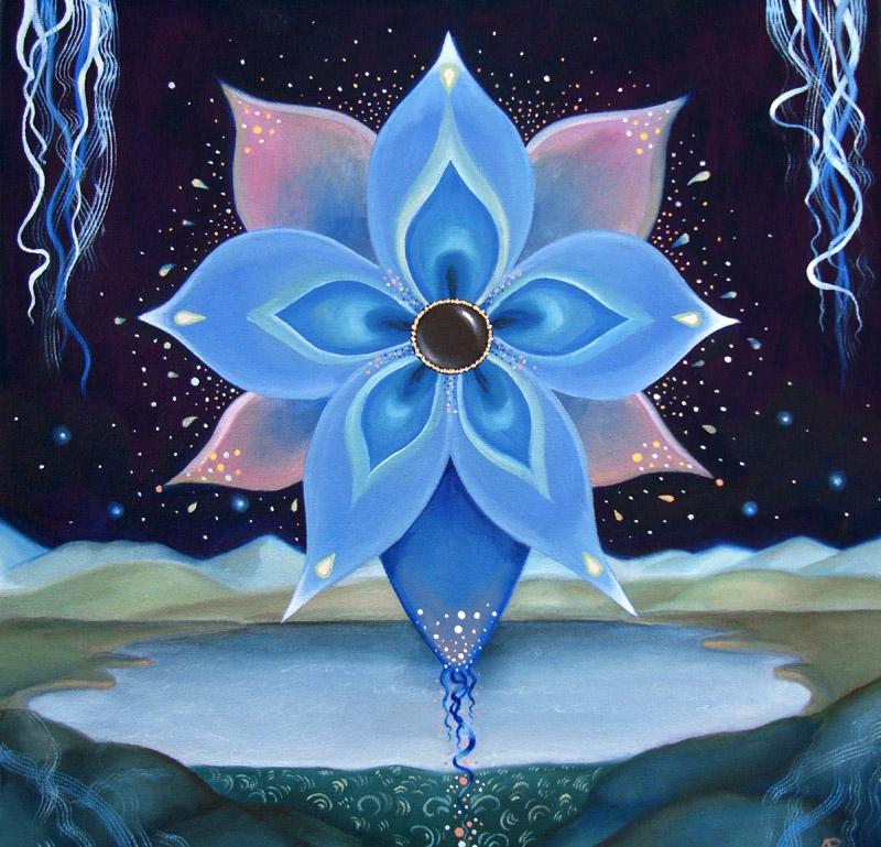 Blue Flower, 16x16 oil canvas - arabella | ello