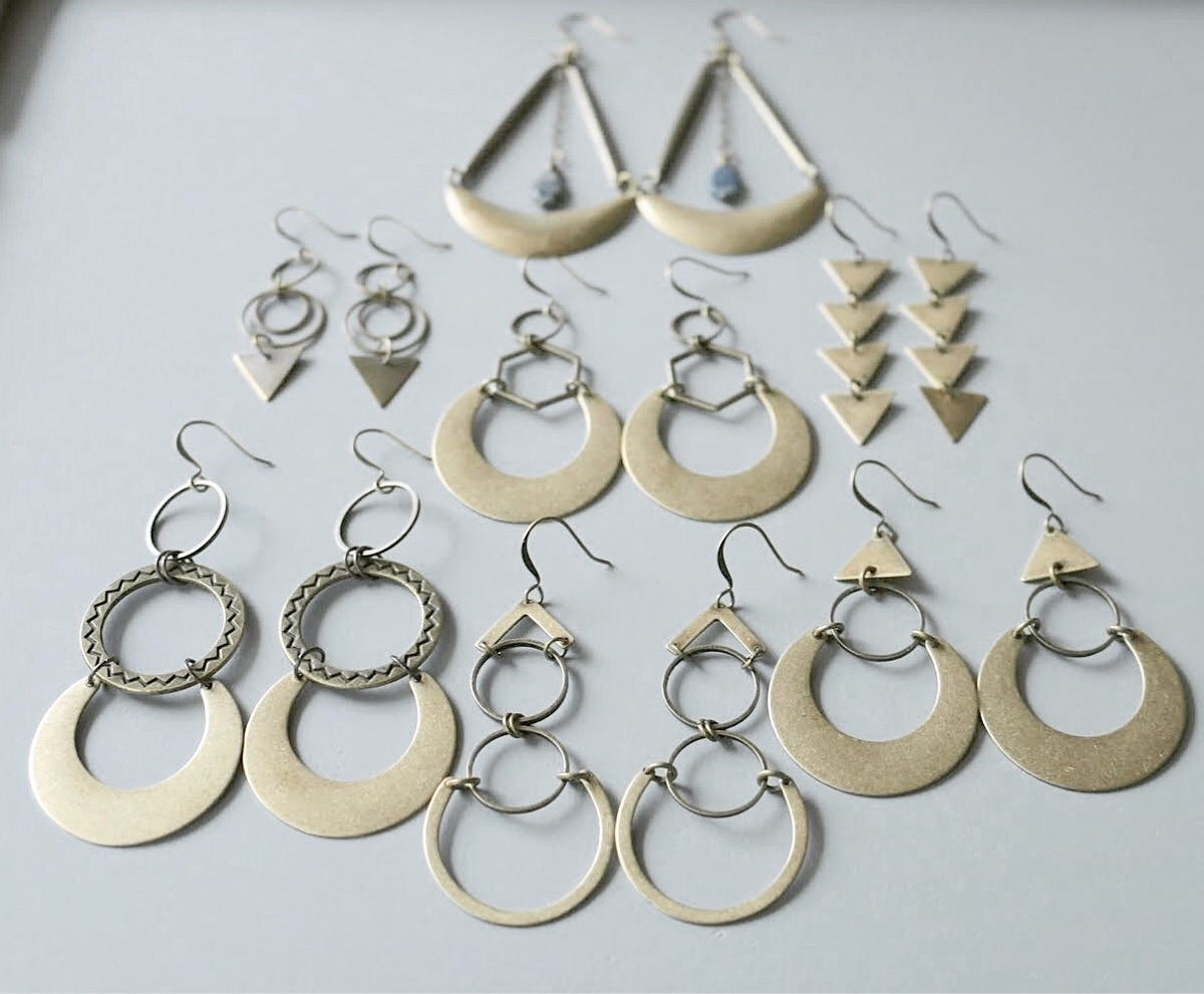 brass collection - earrings, handmade - emmandflow | ello