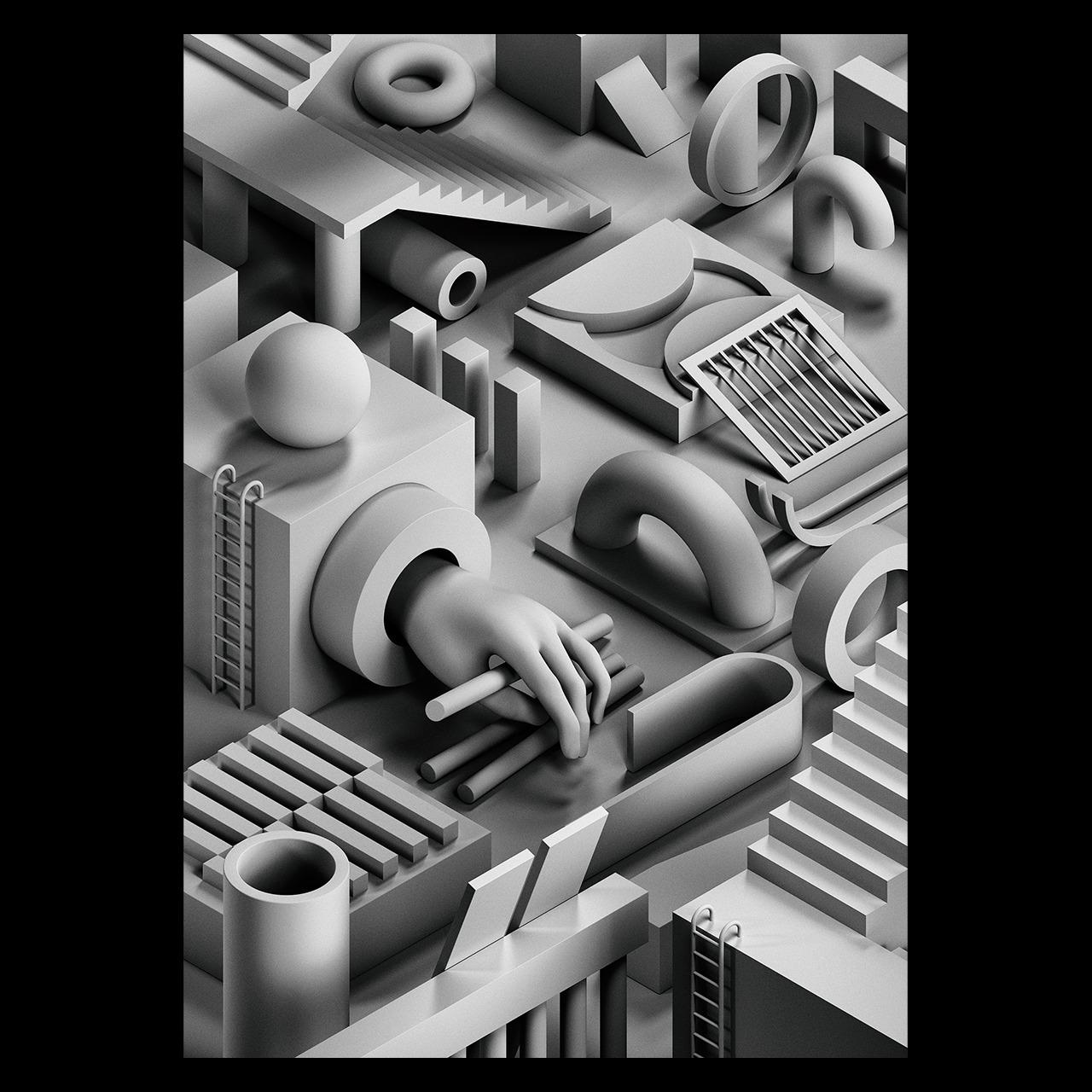Noir II - 3d, illustration, isometric - serafimmendes | ello