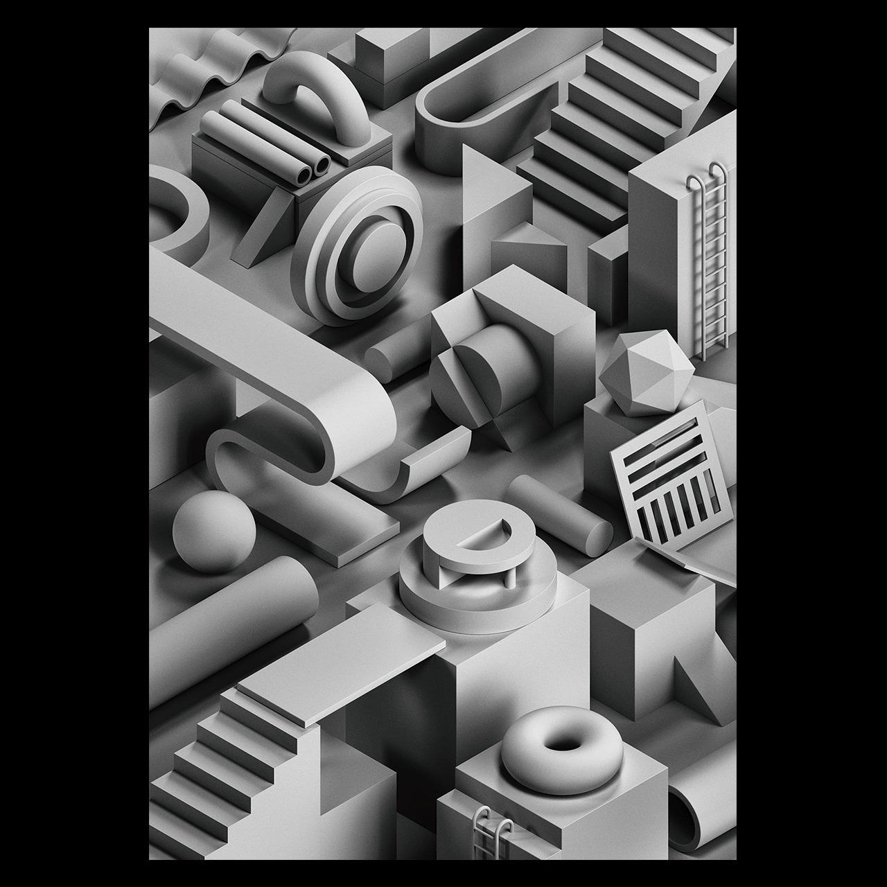 Noir illustration series - 3d, isometric - serafimmendes | ello